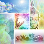 Rainbow Healing Collage - stock illustration