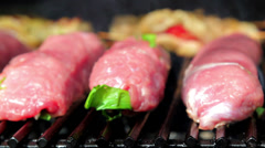 Meat fried on a grill.Pork steak, grilled on an open fire. Stock Footage