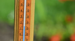 Closeup of thermometer scale temperature rise fast Stock Footage