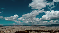 Stock Video Footage of 4K athens panorama summer clouds timelapse