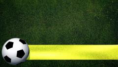 Rotating Soccer Ball with banner on playing field - Background  Stock Footage