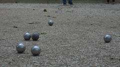 France, Paris, traditional game of pétanque. Stock Footage