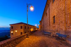 early morning in diano d'alba, italy. - stock photo