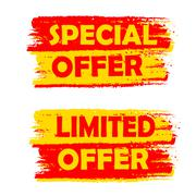 special and limited offer, yellow and red drawn labels - stock illustration