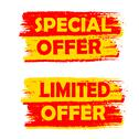 Stock Illustration of special and limited offer, yellow and red drawn labels