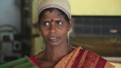 Portrait of a local woman working in the tea factory in Nuwara Eliya. Stock Footage