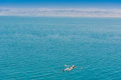 One woman swimming bathing in dead sea jordan Stock Photos