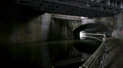 Inside Curzon Street canal tunnel. Stock Footage