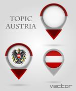 Topic austria map marker Stock Illustration
