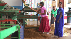 View of local women working on a machine in the tea factory in Nuwara Eliya. Stock Footage