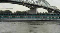 Ship to sail under the bridge 1080p Stock Footage