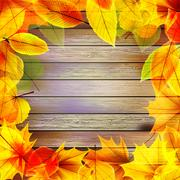 Stock Illustration of Yellow wet autumn leaves on the background. EPS10