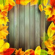 Yellow wet autumn leaves on the background. EPS10 - stock illustration
