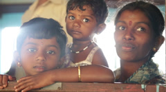 View of the local family, mother with two children in train in Nuwara Eliya. Stock Footage