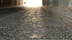 Historic pavement under colonnade 1080p Stock Footage