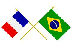 Stock Illustration of flags, france and brazil