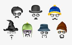 Vector set of glasses, mustache and hats Stock Illustration