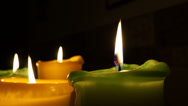 Stock Video Footage of four candles with copy space