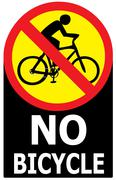 No allow bicycle sign label Stock Illustration