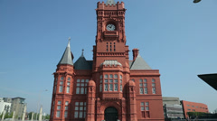 Pierhead building national assembly for wales, cardiff bay, Stock Footage