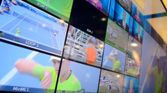 Broadcasting monitor demo during NAB Show exhibition in Las Vegas, USA. Stock Footage