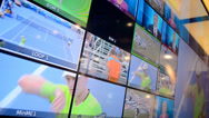 Stock Video Footage of broadcasting monitor demo during NAB Show exhibition in Las Vegas, USA.