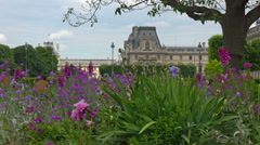 France, Paris, Tuileries garden and Louvre. Stock Footage