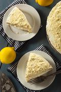Homemade lemon cake with cream frosting Stock Photos