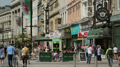 Cafes and shops, st mary street, cardiff, wales, uk Stock Footage