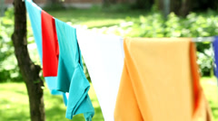Laundry moved by the wind - stock footage