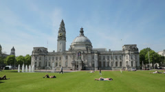 Summer day at cardiff city hall, wales, uk Stock Footage