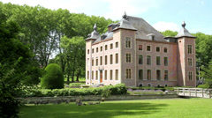 Coloma castle and its park in the French style. Stock Footage