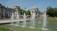 Fountains at cardiff city hall, wales, uk Stock Footage