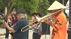 Strambon - Buskers - the street musicians Stock Footage