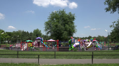 ULTRA HD 4K Empty playground summer day childhood game toddler happiness activ Stock Footage