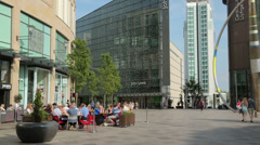 shopping centre cafes and shops, cardiff, wales, uk - stock footage