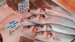 Fresh fish for sale at fishmongers stall, wales, uk Stock Footage