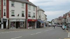 Street scene at newton road, mumbles, swansea, wales, uk Stock Footage