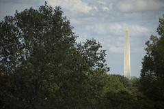 Monument overlooking treetops, arlington, virginia, united states Stock Photos