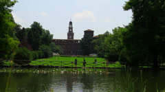 Italy Milan, Castello Sforzesco Stock Footage