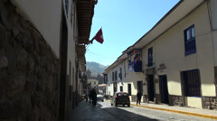 Cusco street with sun and shadow s Stock Footage