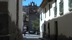 Cusco best street leading to church Stock Footage