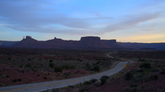 Route 128 near Moab Utah at Sunset Castle Valley, Parriot Mesa, Stock Footage
