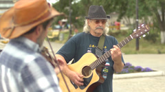 Buskers - the street musicians Stock Footage