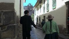 Peru Cusco street leading to church s Stock Footage