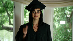 college grad thumbs up happy - stock footage