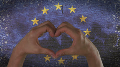 Hands Heart Symbol European Flag Stock Footage