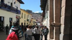 Cusco people in street c Stock Footage