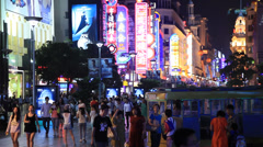 Nanjing Road neon 1 30 Stock Footage