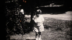 Vintage 16mm,boy with beanie Stock Footage